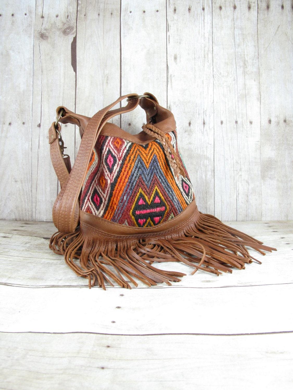 Kilim Bag Leather Fringe Bag Tribal Bag Distressed Leather