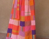 Vintage 70s - Super Cool Patchwork Maxi Skirt with Matching Belt