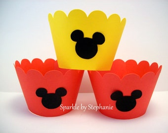 Mickey Mouse Cupcake Wrappers - Set of 12+