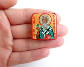 Saint Patrick Miniature handpainted icon painting 1 x1 inches - MADE TO ORDER