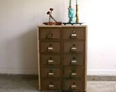 Vintage Industrial Storage Cabinet Atlanta Furniture Side Table Home Decor Mailbox Mail Box File Post Office Drawers Men Bar Cart Greek Key