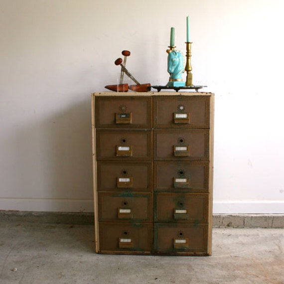 Vintage Industrial Furniture: Vintage Industrial Furniture Side Table. Mailbox By