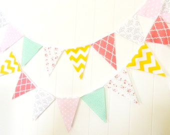 Fabric Banner, Bunting, Pennant Flags, Garland Turquoise, Pink, Grey, Yellow, Coral, Wedding Decor Photo Prop, Baby Nursery, Birthday Party