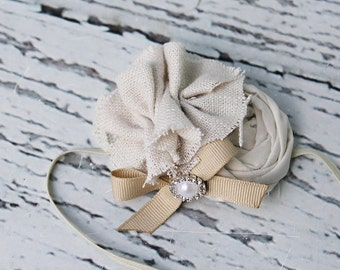 Little Linen and Lace- linen ruffle and rosette with lace and bow accent