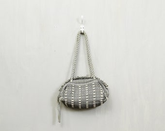 20 PERCENT OFF Code: 20FOR17 > 1930's Gray Woven Rayon Tassel Day Bag Clutch Purse