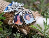 Jewel Encrusted Flower and Double Bouquet Photo Charms