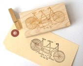 Tandem Bike Wedding Stamp 3.5 X 2.5 // Custom Stamp // DIY Wedding Decor.