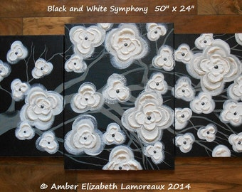 "Huge Original Impasto Abstract Painting 44"" x 32"" Black and White Symphony Triptych Gallery Canvas Amber Lamoreaux Modern Asian Art Flowers"