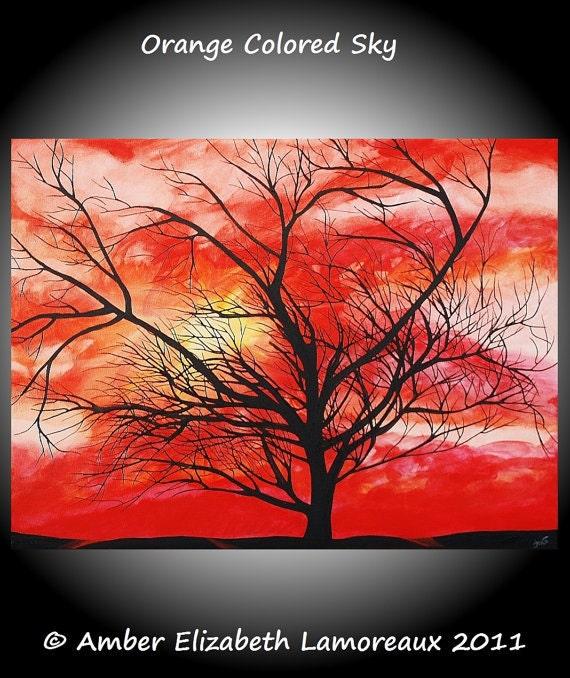"8"" x 10"" Fine Art Giclee Print of Original Painting Orange Colored Sky Amber Elizabeth Lamoreaux Surreal Tree Modern Art Silhouette Sunset"