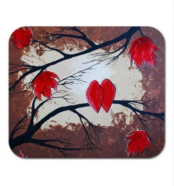 Mousepad Mouse Pad Fine Art Painting Cardinals Maple Leaves Autumn Two Red Birds in Love