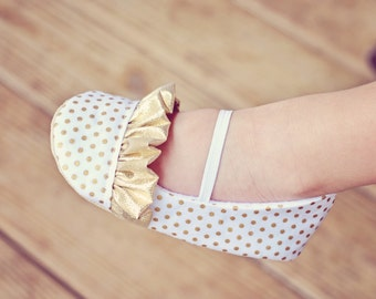 Toddler Girl Shoes Baby Girl Shoes Soft Soled Shoes Gold Wedding Shoes Polka Dot Shoes Flower Girl Shoes Gold Ruffle Shoes - Hannah