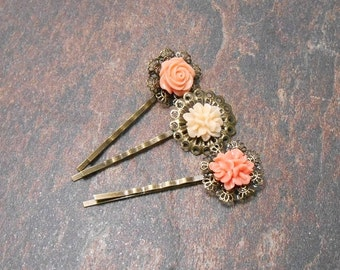 Set of 3 Peach Floral Bobby Pins - Clearance - Spring Hair Pins - Floral Hair Accessories
