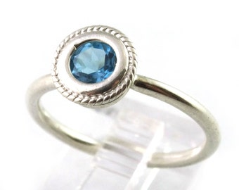 Swiss Blue Topaz Rope Edged Bezel Set Sterling Silver Stacking Ring