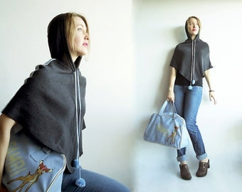 CAPE Your SECRETS Vtg Woolly Hooded Cape in Charcoal Grey with Baby Blue Stripes and Pompons Size XS or S