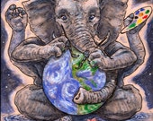 Create Your World - Original painting of Ganesh as an artist, in space, painting the wold into existence.