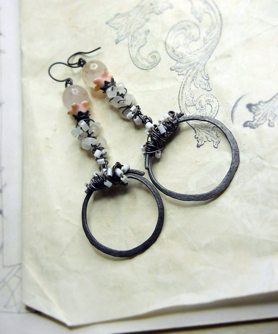 Rustic Beaded Earrings - Stick & Hoop - Rose Quartz in Pink Petals, Glass Beaded Steel Wire Wrapping on Hammered Hoops