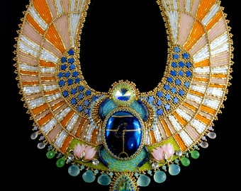 Aether - Egyptian Scarab Necklace - CUSTOM ORDER - Bead Embroidered Statement Necklace, Egyptian Collar Necklace