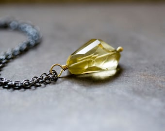Golden Topaz Necklace in Sterling Silver and Solid 18K Solid Gold Necklace - Origins