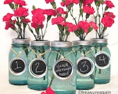 Chalkboard Wedding Table Numbers Mason Jar Labels Mason Jar Wedding Party Centerpiece Handmade Upcycled Charms Only, No Jars