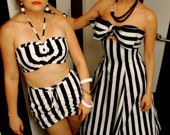 40s/50s Vintage Inspired Bikini Top And Shorts Set- Pinup Girl -Black & White Stripe- Choose Your Size-