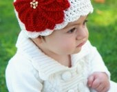 Baby Christmas Hat, Christmas Baby Hat, Newborn Christmas Hat, Crochet Christmas Hat, Christmas Photo Prop, Crochet Poinsettia Hat