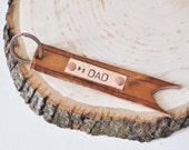Number 1 Dad- Genuine Leather Hand Stamped Key Chain - Perfect for Father's Day