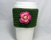 Little Flower crochet coffee cozy - handleless for disposable cup