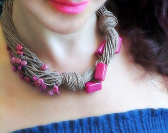 Tagua Nut Necklace, Linen Necklace, Boho Necklace , Fuchsia Beads, Agait Beads, Linen Cord, Asymmetric Necklace