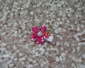 Hot Pink Corduroy Flower with Pearl Center Hair Clip - No Slip Grip - Baby - Toddler - Girl - Teen - Adult Hair Clip