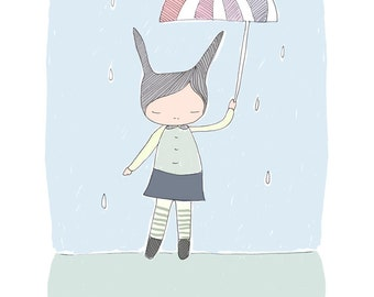 Nursery Print - Bunny Rabbit - Pastel-  Raindrops with Umbrella  Illustration -  Art Print (21x29.7cm)