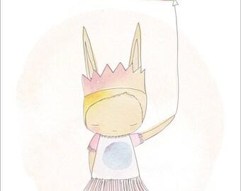 Kids Room Decor - Bunny Ballerina Pastel Pastel Peach