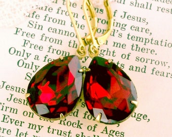 Fire Red, Old Hollywood, Estate Style Fire Red Glass Jewel Red Rhinestone Earrings by Hollywood Hillbilly