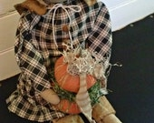 Primitive Prairie Doll with Stacking Pumpkins