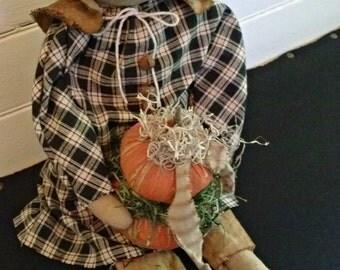 Primitive Decor, Autumn Decor, Primitive Prairie Doll with Stacking Pumpkins, Thanksgiving, Rustic Decor, Primitive Doll, Prairie Doll