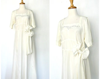 Vintage 40s Wedding Dress - 1940s dress - sequin - drop waist - flapper - tea length - bridesmaid - small medium
