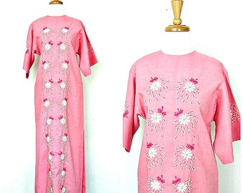 Vintage Maxi Dress - 60s dress - embroidered - hippie wedding dress - Bia - pink summer dress - small medium
