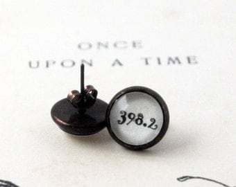 Fairy Tale Studs, Tiny Ear Studs,  Still Believe, 398.2,  Once Upon a Time, Vintage, Book Earrings, Librarian Gift, I still believe in 398.2