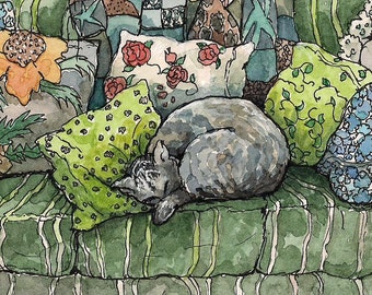 Cat Art Watercolor PRINT , 8X10, of original painting by Patty Fleckenstein