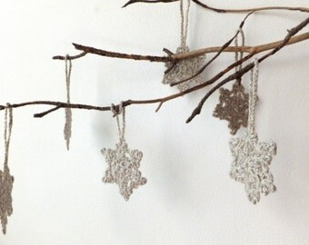 Crochet snowflakes - natural linen Christmas tree decorations - holiday ornaments - linen snowflakes ornaments - set of 6 ~2 inches