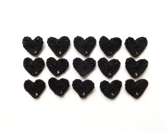 SALE - 30% Black hearts applique - crochet hearts decorations - Halloween embellishments - black Halloween hearts - set of 15  ~1 inch