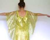 60s Shiny Gold Lace Cape Overlay Space Age Bow Dress xxs xs