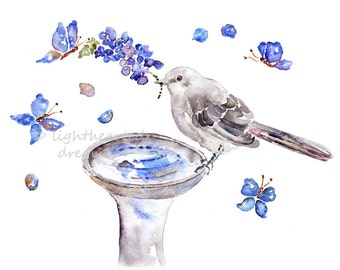 Mockingbird, Bird Print, Navy Bathroom Decor, Bird Art, Texas Wall Art, Watercolor Bird Painting, Bathroom Painting, Flower Painting, TX