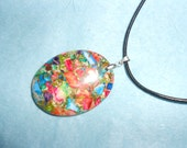 Rainbow Jasper Sediment Stone - Jasper & Pyrite Pendant Necklace On Leather Cord -New Age Chic