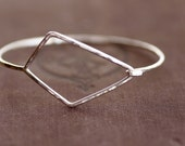 Large Geometric Hook Bangle - Sterling Silver
