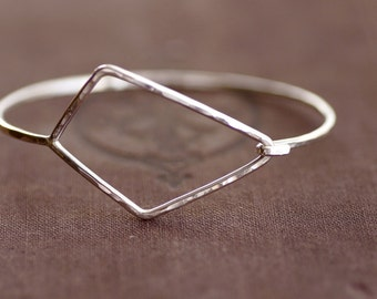 Large Geometric Hook Bangle - Sterling Silver