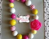 HOT PINK LEMONADE Flower Chunky Necklace- Chunky bubblegum necklace, Girls chunky necklace, Gumball necklace, Chunky beaded necklace