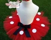 RED POLKADOT MINNIE- Red,White,Minnie Mouse baby/child Tutu wit hairbow:  Newborn-5T