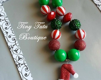 GRINCH Chunky Necklace- Chunky bubblegum necklace, Girls chunky necklace, Gumball necklace, Bottle Cap necklace