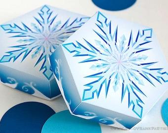 Snowflake Favor Box : DIY Printable Frozen Crystal Gift Box PDF | Winter Wonderland | Winter Onederland | Snow - Instant Download