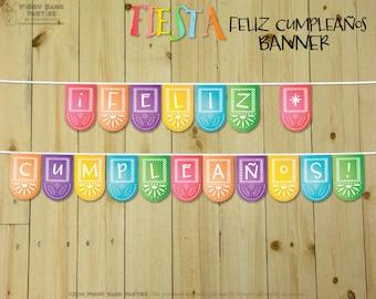 FIESTA Feliz Cumpleaños Banner : DIY Printable Spanish Happy Birthday Party Decoration | Fiesta | Cinco de Mayo Birthday - Instant Download